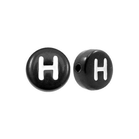 Acryl letterkraal rond H zwart