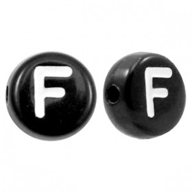 Acryl letterkraal rond F zwart