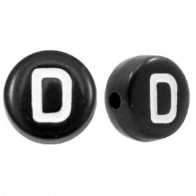 Acryl letterkraal rond D zwart