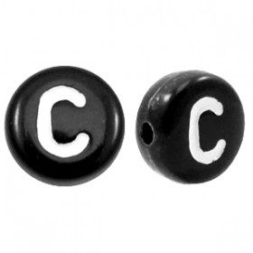 Acryl letterkraal rond C zwart