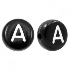 Acryl letterkraal rond A zwart