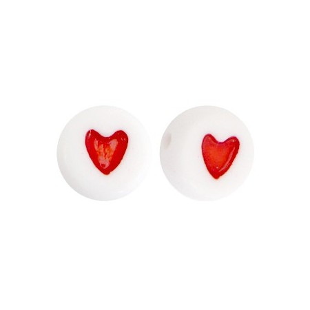 Acryl letterkraal rond hart rood