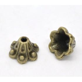 Kralenkapje bloemblaadjes brons 10mm x 5mm