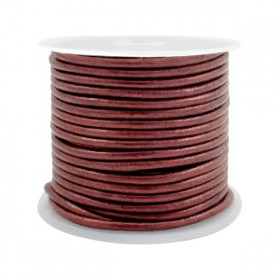 DQ leer rond 3 mm Rose brown metallic