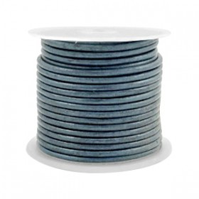 DQ leer rond 1 mm Haze blue metallic