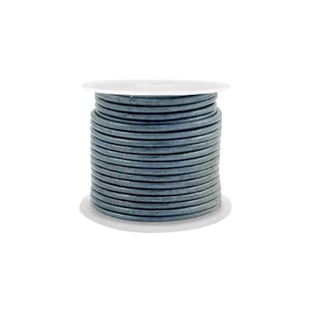 DQ leer rond 1 mm Haze blue metallic