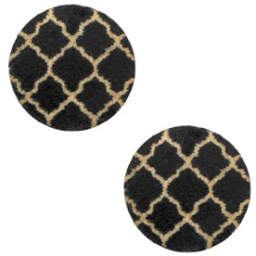 Basic houten cabochon 12mm Moroccan design Black