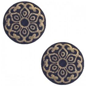 Basic houten cabochon 20mm Mandala Dark blue