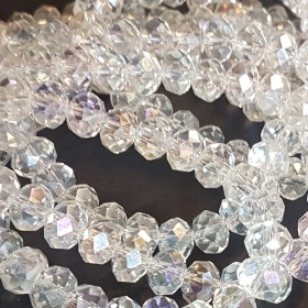 Facet kralen 8x6mm Crystal AB