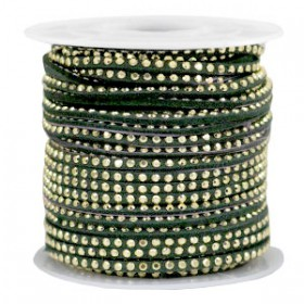 Imi. Suède leer 3mm met strass goud dark green