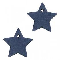 DQ leer hanger ster Dark denim blue