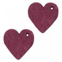 DQ leer hanger hart Light aubergine red