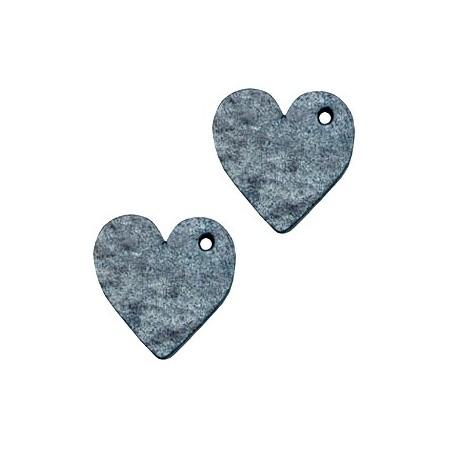 DQ leer hanger hart Vintage blue