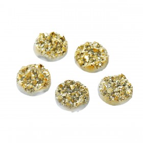 12mm platte cabochon Drusy Resin Gold