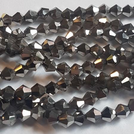 Facet kralen bicone 4x3mm Hematite