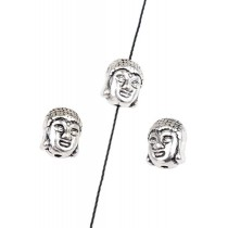 Metaal kraal Buddha hoofd Antiek zilver