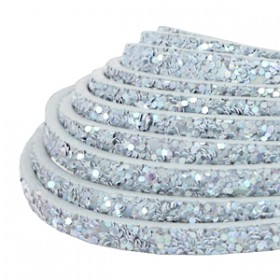 Plat imi leer 5mm met glitters Light blue