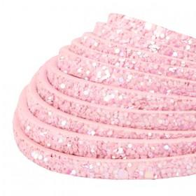 Plat imi leer 5mm met glitters Pink