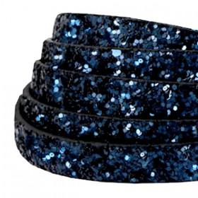 Plat imi leer 10mm met glitters Dark blue