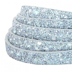 Plat imi leer 10mm met glitters Light blue