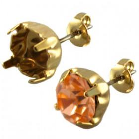 DQ oorstekers voor puntsteen ss29 Gold plated