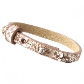 Cuoio armbanden leer Snake 8 mm voor 12 mm cabochon metallic classic brown