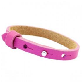 Cuoio armbanden leer Kids 8 mm voor 12 mm cabochon Hot pink