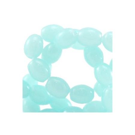 Ovalen glaskralen Light aqua blue