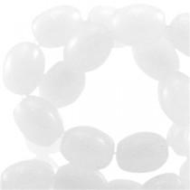 Ovalen glaskralen White
