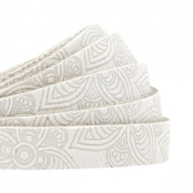 DQ leer met mandala print plat 10mm Off white