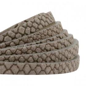 DQ leer reptile plat 5mm Taupe grey