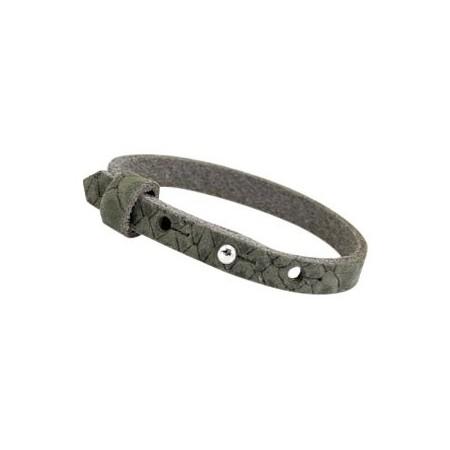 Cuoio armbanden reptile leer 8 mm voor 12 mm cabochon Dark olive green