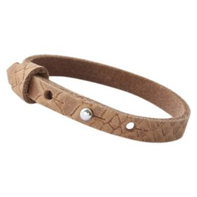Cuoio armbanden reptile leer 8 mm voor 12 mm cabochon Light cognac brown