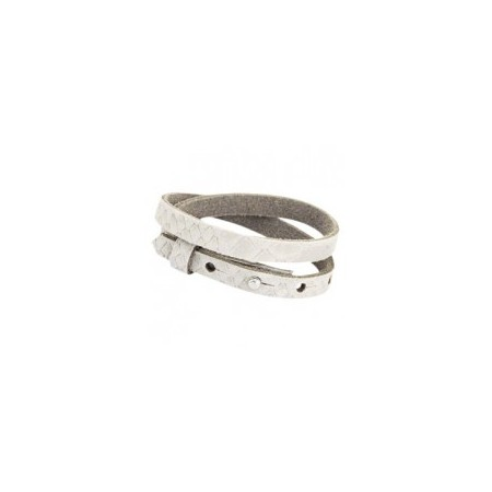 Cuoio armbanden leer Reptile 8 mm dubbel voor 12 mm cabochon Off white