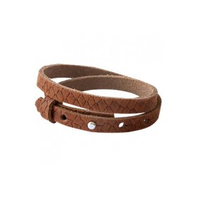 Cuoio armbanden leer Reptile 8 mm dubbel voor 12 mm cabochon Chestnut Brown