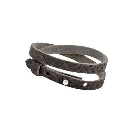 Cuoio armbanden leer Reptile 8 mm dubbel voor 12 mm cabochon Dark vintage brown