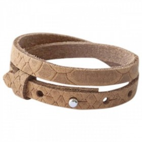Cuoio armbanden leer Reptile 8 mm dubbel voor 12 mm cabochon Light cognac brown
