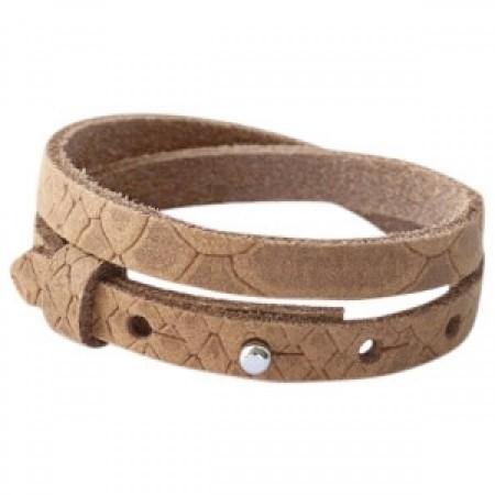 Cuoio armbanden leer Reptile 8 mm dubbel voor 12 mm cabochon Light cognac brown