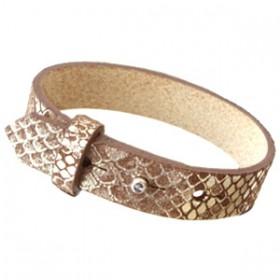 Cuoio armbanden leer Snake 15 mm voor 20 mm cabochon Metallic classic brown