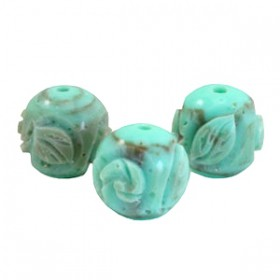DQ acryl carved Polaris kralen 14mm rond turquoise