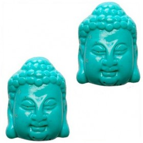 DQ acryl kraal Buddha hoofd turquoise