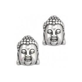 DQ acryl kraal metallook Buddha hoofd zilver
