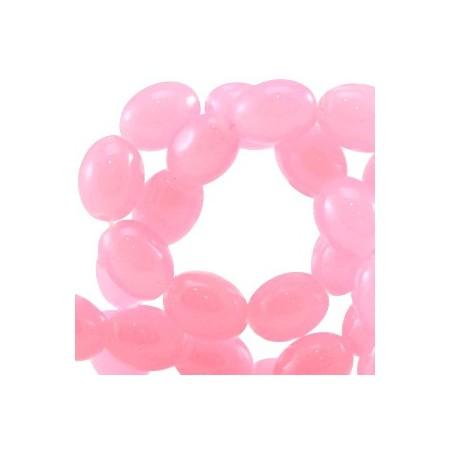 Ovalen glaskralen Light rose pink