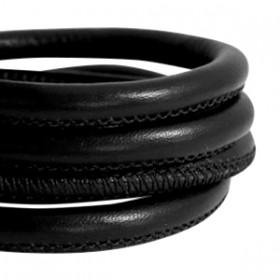 Gestikt nappa leer 5x4mm Black