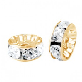 Rondellen met Strass 8mm Gold-crystal