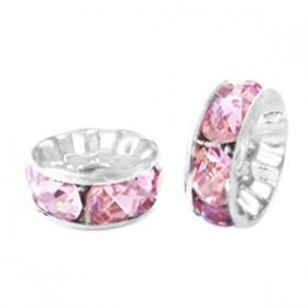 Rondellen met Strass 6mm Silver-pink