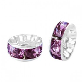 Rondellen met Strass 8mm Silver-light aubergine purple