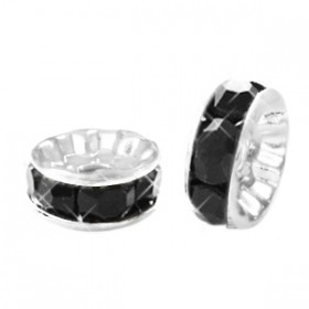 Rondellen met Strass 6mm Silver-black
