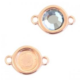 DQ metalen setting rond met 2 ogen voor SS20 flatback Rosé goud (nikkelvrij)