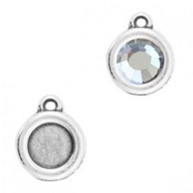 DQ metalen setting rond met 1 oog voor SS20 flatback Antiek zilver (nikkelvrij)